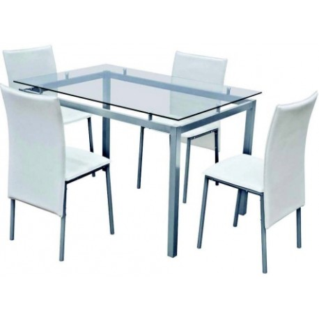Set tavolo acciaio cristallo 120x80 4 sedie pelle bianca for Tavolo 120x80