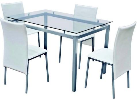 Set tavolo acciaio cristallo sedie pelle bianca