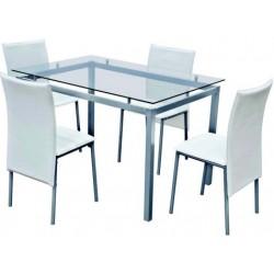 set tavolo acciaio-cristallo 120x80 + 4 sedie pelle bianca