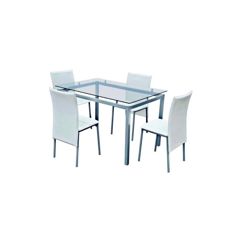 Tavolo Cristallo 4 Sedie.Set Tavolo Acciaio Cristallo 120x80 4 Sedie Pelle Bianca