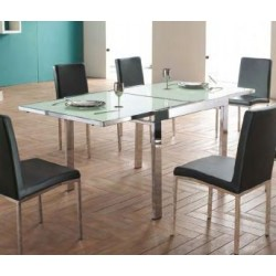 tavolo acciaio-cristallo estensibile 90/180x90